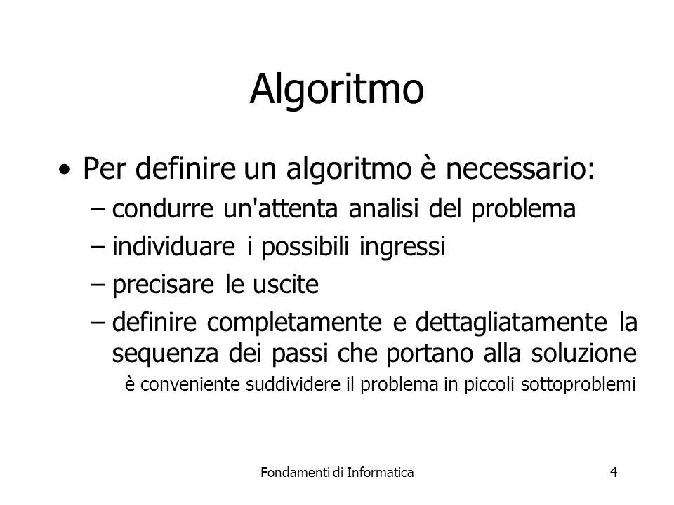 Fondamenti di Informatica4 Algoritmo Per definire un algoritmo è necessario: –condurre un'attenta analisi del problema –individuare i possibili ingres