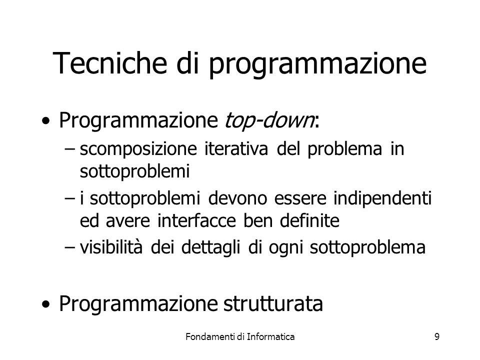Fondamenti di Informatica10 Programmazione strutturata Teoria nata nel 1965 Basata su eliminazione dei salti incondizionati e -più generalmente- sulla definizione di restrizioni Rendono la scrittura dei programmi e la loro manutenzione più semplici Migliorano la leggibilità dei programmi