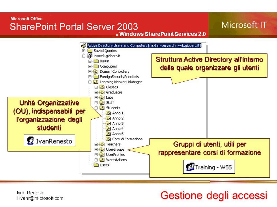 e Windows SharePoint Services 2.0 Ivan Renesto i-ivanr@microsoft.com Gestione degli accessi Struttura Active Directory all'interno della quale organiz