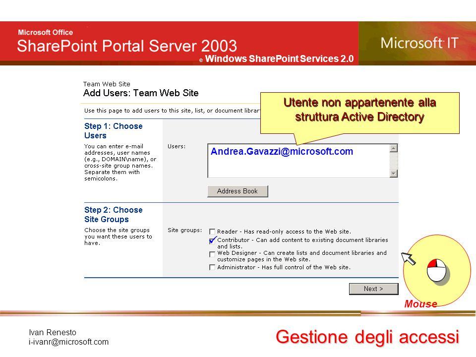 e Windows SharePoint Services 2.0 Ivan Renesto i-ivanr@microsoft.com Gestione degli accessi Mouse Andrea.Gavazzi@microsoft.com  Utente non appartenen