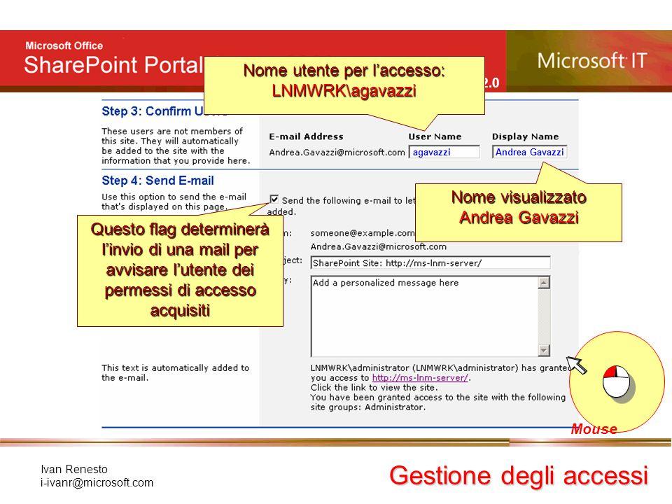 e Windows SharePoint Services 2.0 Ivan Renesto i-ivanr@microsoft.com Gestione degli accessi Mouse agavazzi Andrea Gavazzi Nome utente per l'accesso: L