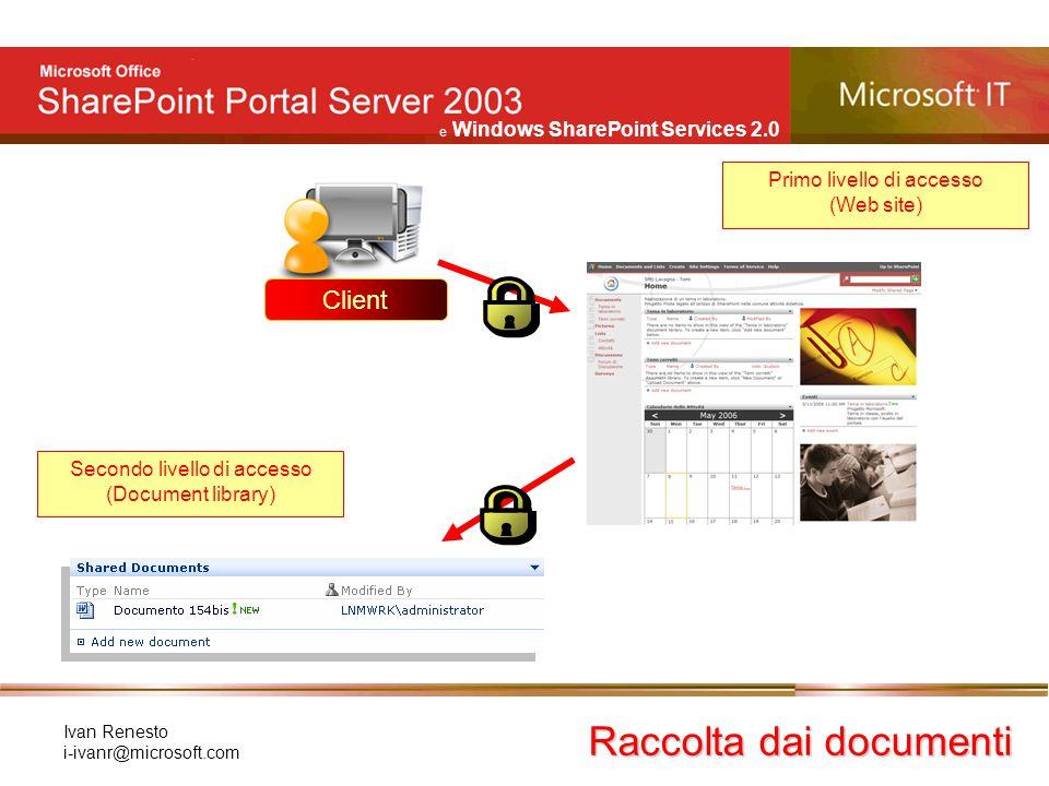 e Windows SharePoint Services 2.0 Ivan Renesto i-ivanr@microsoft.com Raccolta dai documenti Client Primo livello di accesso (Web site) Secondo livello