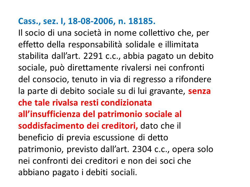 Cass., sez. I, 18-08-2006, n. 18185. Il socio di una società in nome collettivo che, per effetto della responsabilità solidale e illimitata stabilita