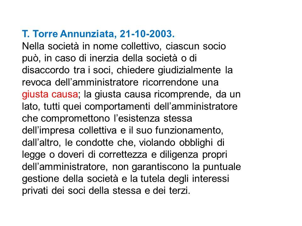 T. Torre Annunziata, 21-10-2003. Nella società in nome collettivo, ciascun socio può, in caso di inerzia della società o di disaccordo tra i soci, chi
