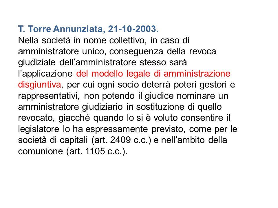 T. Torre Annunziata, 21-10-2003. Nella società in nome collettivo, in caso di amministratore unico, conseguenza della revoca giudiziale dell'amministr