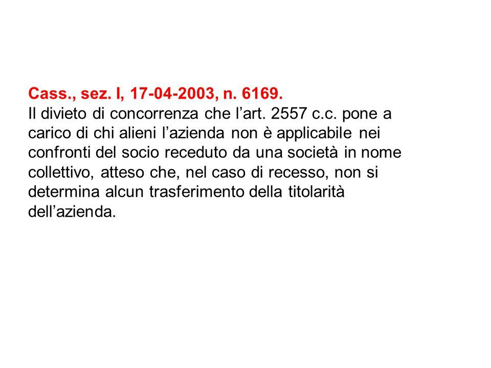 Cass., sez. I, 17-04-2003, n. 6169. Il divieto di concorrenza che l'art. 2557 c.c. pone a carico di chi alieni l'azienda non è applicabile nei confron