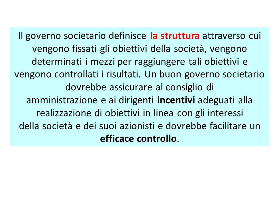 Il governo societario definisce la struttura attraverso cui vengono fissati gli obiettivi della società, vengono determinati i mezzi per raggiungere t