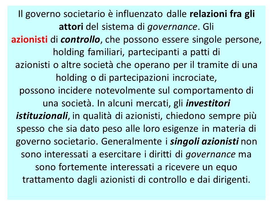 Il governo societario è influenzato dalle relazioni fra gli attori del sistema di governance. Gli azionisti di controllo, che possono essere singole p