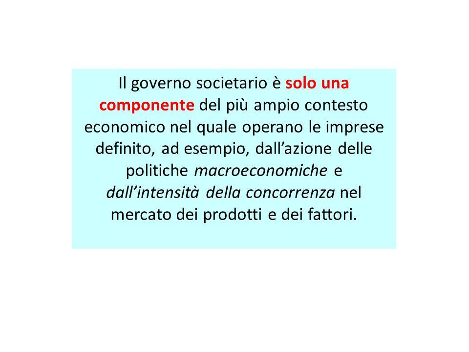 Il governo societario è solo una componente del più ampio contesto economico nel quale operano le imprese definito, ad esempio, dall'azione delle poli