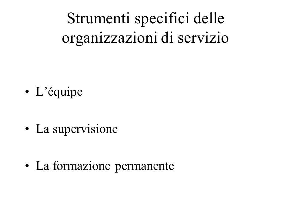Strumenti specifici delle organizzazioni di servizio L'équipe La supervisione La formazione permanente