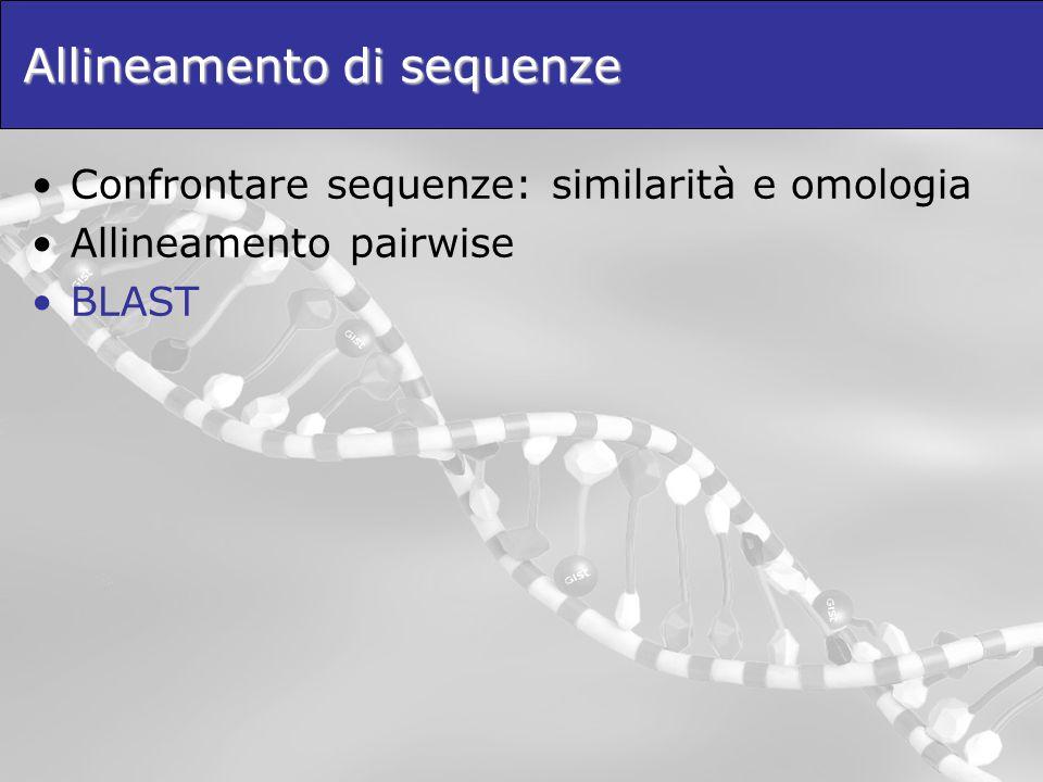 Allineamento di sequenze Confrontare sequenze: similarità e omologia Allineamento pairwise BLAST