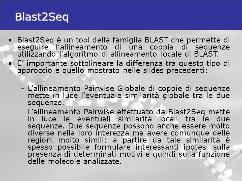 Blast2Seq Blast2Seq è un tool della famiglia BLAST che permette di eseguire l'allineamento di una coppia di sequenze utilizzando l'algoritmo di alline