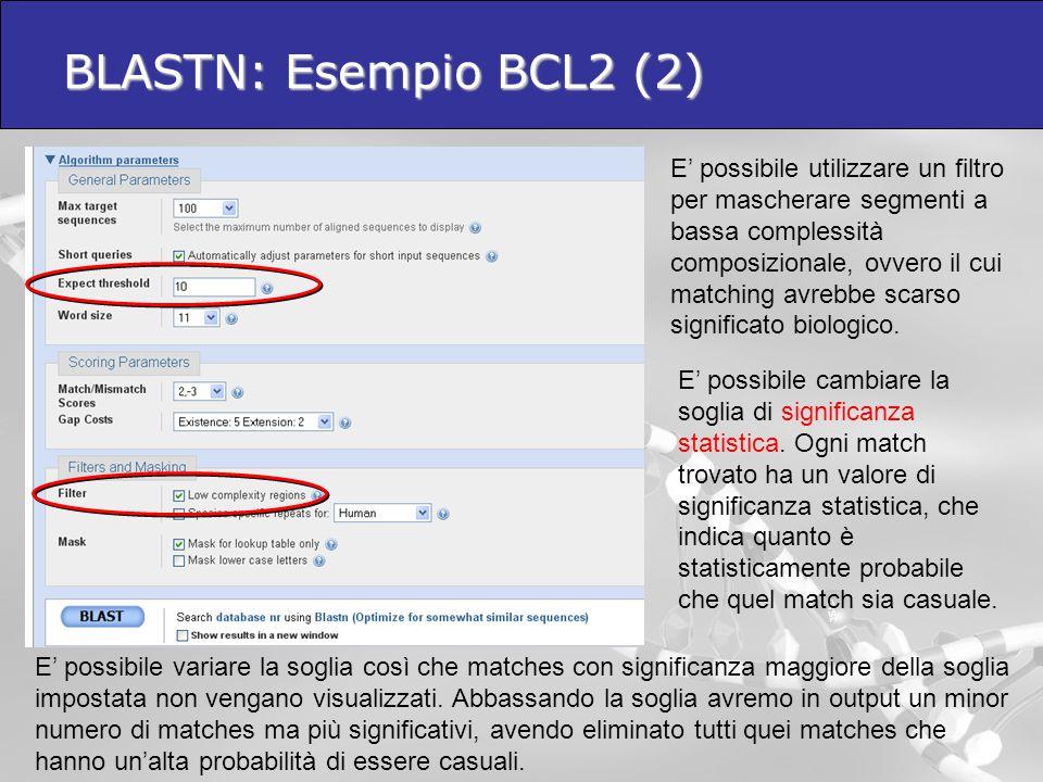 BLASTN: Esempio BCL2 (2)  E' possibile utilizzare un filtro per mascherare segmenti a bassa complessità composizionale, ovvero il cui matching avrebb