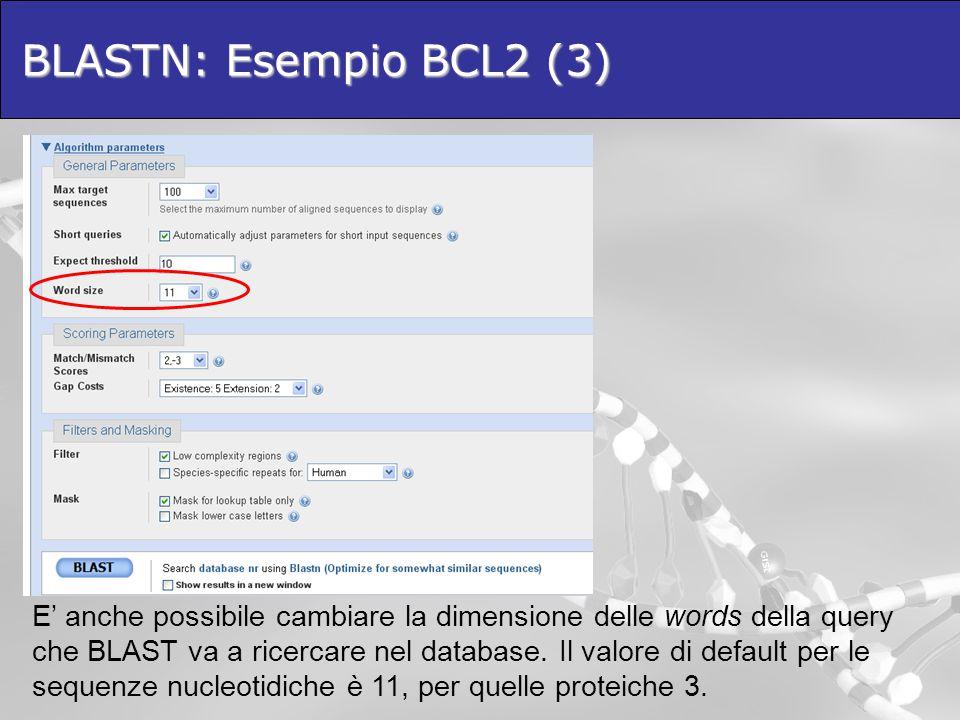 BLASTN: Esempio BCL2 (3)  E' anche possibile cambiare la dimensione delle words della query che BLAST va a ricercare nel database. Il valore di defau