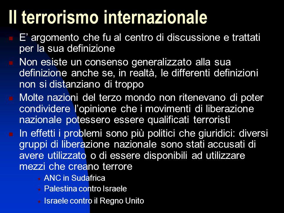Il terrorismo internazionale E' argomento che fu al centro di discussione e trattati per la sua definizione Non esiste un consenso generalizzato alla