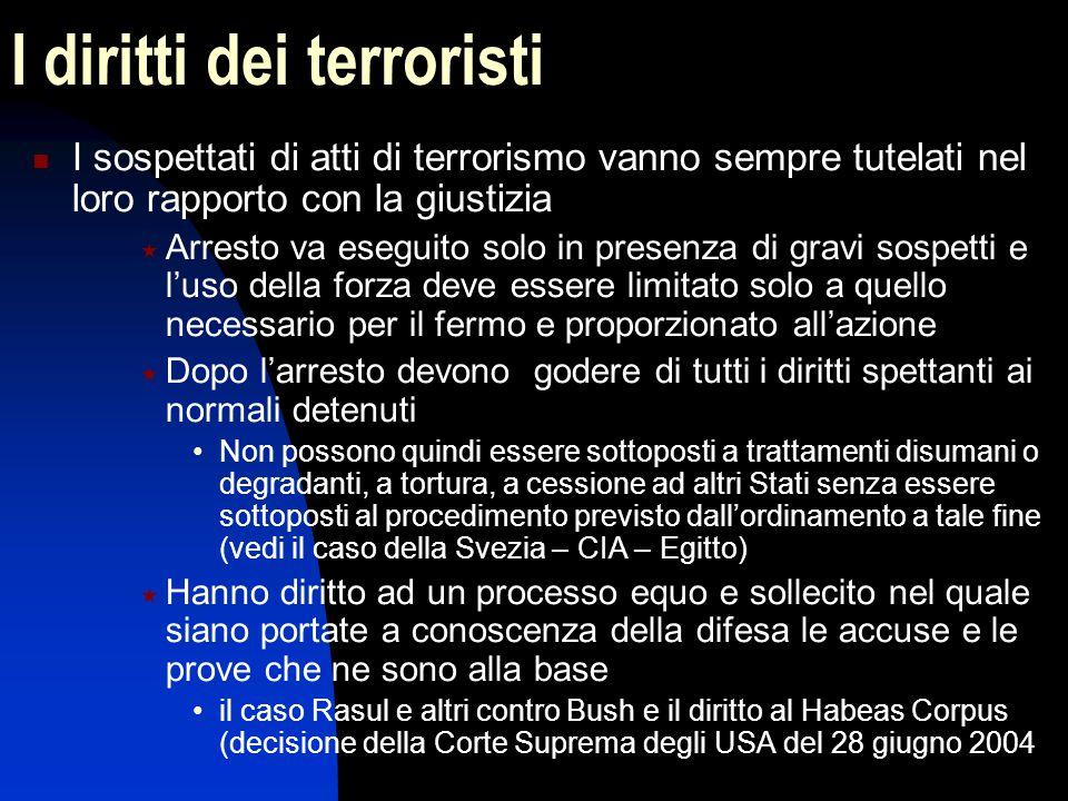 I diritti dei terroristi I sospettati di atti di terrorismo vanno sempre tutelati nel loro rapporto con la giustizia  Arresto va eseguito solo in pre