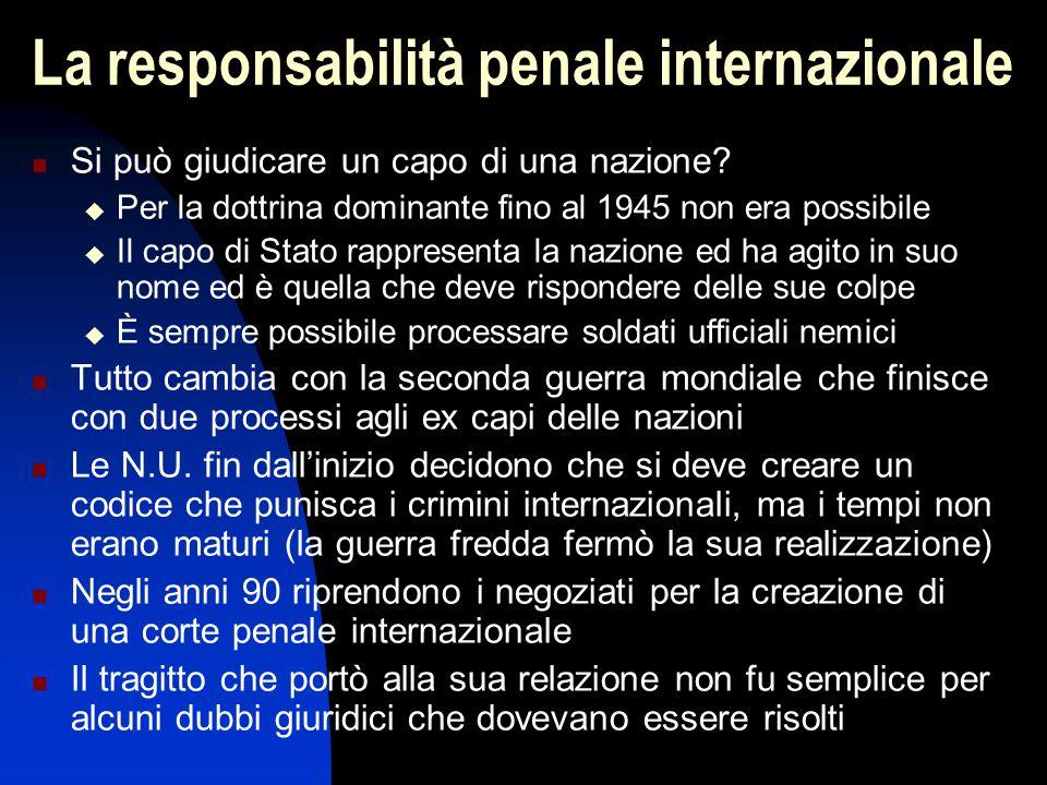 La responsabilità penale internazionale Si può giudicare un capo di una nazione?  Per la dottrina dominante fino al 1945 non era possibile  Il capo
