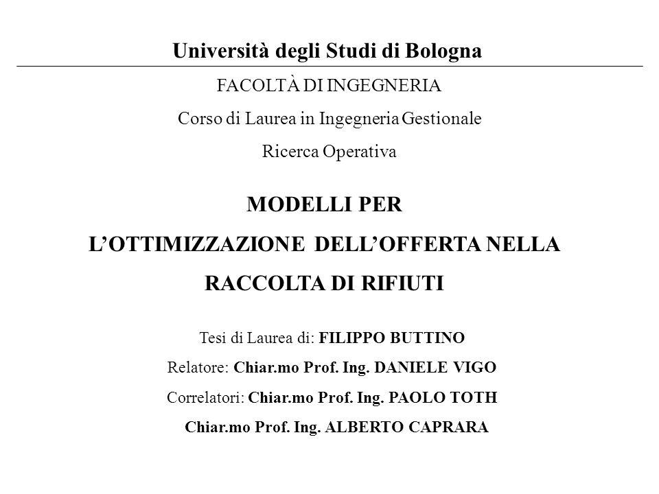 Università degli Studi di Bologna FACOLTÀ DI INGEGNERIA Corso di Laurea in Ingegneria Gestionale Ricerca Operativa MODELLI PER L'OTTIMIZZAZIONE DELL'OFFERTA NELLA RACCOLTA DI RIFIUTI Tesi di Laurea di: FILIPPO BUTTINO Relatore:Chiar.mo Prof.
