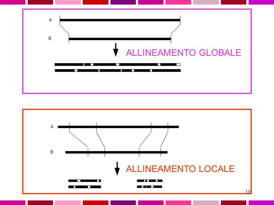 9 Allineamento GLOBALE o LOCALE GLOBALEconsidera la similarita' tra due sequenze in tutta la loro lunghezza LOCALE considera solo specifiche REGIONI s
