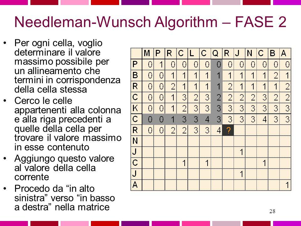 27 Needleman-Wunsch Algorithm – FASE 1 Similarity values valore 1 oppure 0 ad ogni cella, in base alla similarita'dei residui corrispondenti Nell'esempio: –match = +1 –mismatch = 0