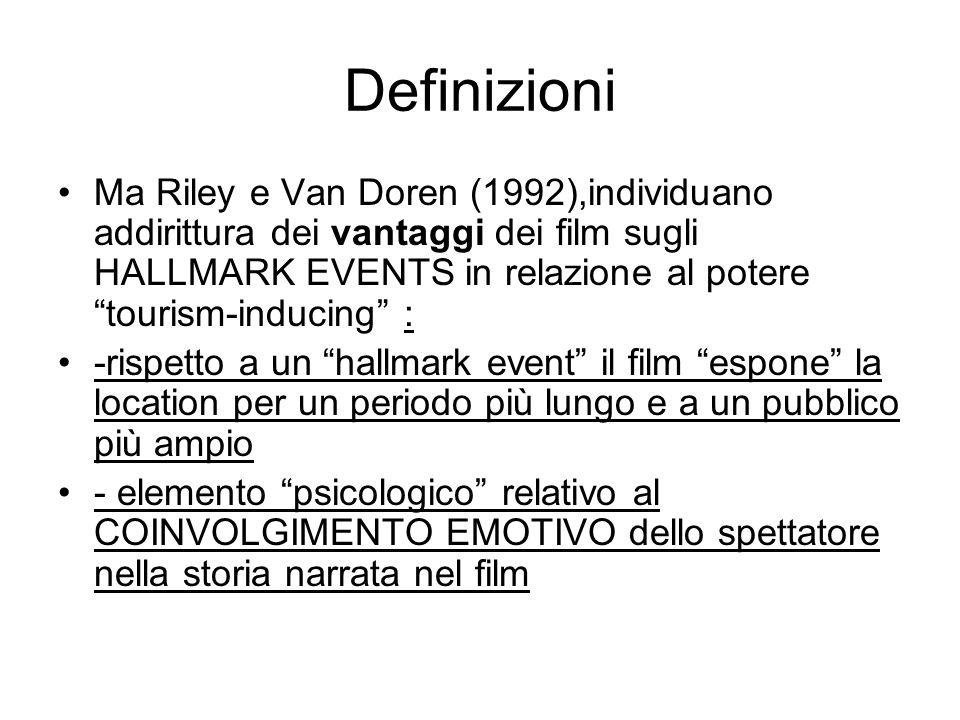 Definizioni Ma Riley e Van Doren (1992),individuano addirittura dei vantaggi dei film sugli HALLMARK EVENTS in relazione al potere tourism-inducing : -rispetto a un hallmark event il film espone la location per un periodo più lungo e a un pubblico più ampio - elemento psicologico relativo al COINVOLGIMENTO EMOTIVO dello spettatore nella storia narrata nel film