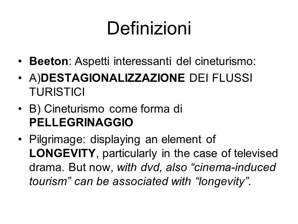 Definizioni Beeton: Aspetti interessanti del cineturismo: A)DESTAGIONALIZZAZIONE DEI FLUSSI TURISTICI B) Cineturismo come forma di PELLEGRINAGGIO Pilgrimage: displaying an element of LONGEVITY, particularly in the case of televised drama.