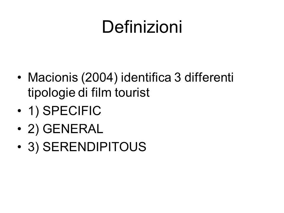 Definizioni Macionis (2004) identifica 3 differenti tipologie di film tourist 1) SPECIFIC 2) GENERAL 3) SERENDIPITOUS