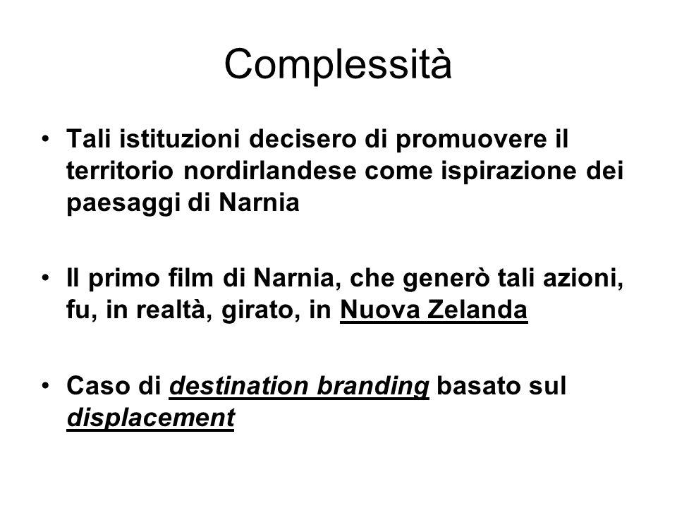 Complessità Tali istituzioni decisero di promuovere il territorio nordirlandese come ispirazione dei paesaggi di Narnia Il primo film di Narnia, che generò tali azioni, fu, in realtà, girato, in Nuova Zelanda Caso di destination branding basato sul displacement