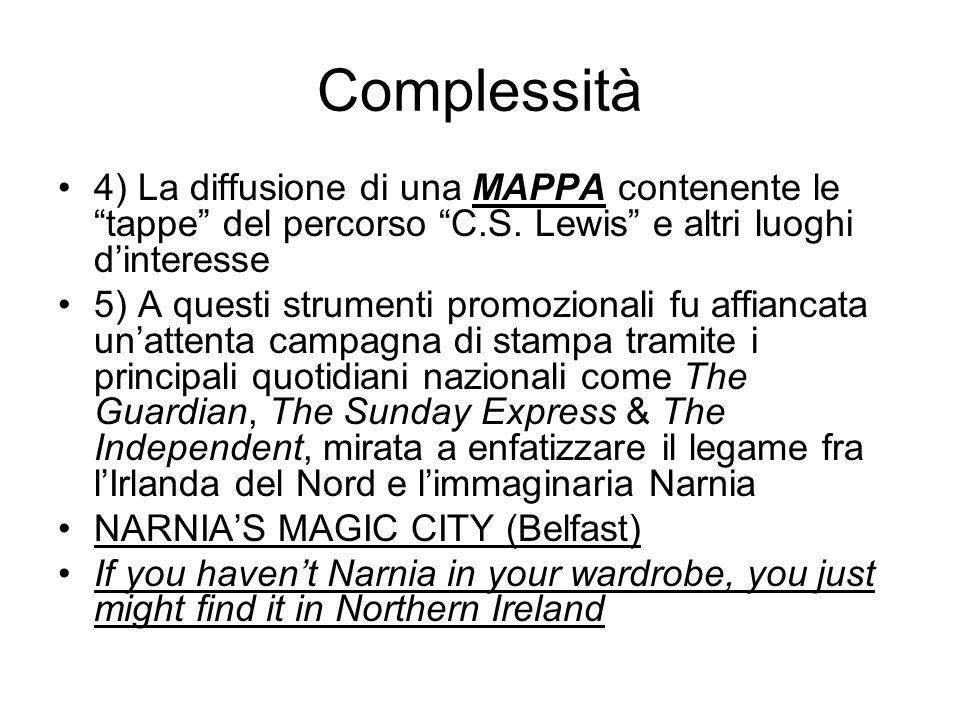 Complessità 4) La diffusione di una MAPPA contenente le tappe del percorso C.S.