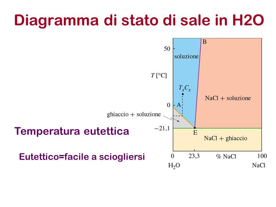 Diagramma di stato di sale in H2O Temperatura eutettica Eutettico=facile a sciogliersi