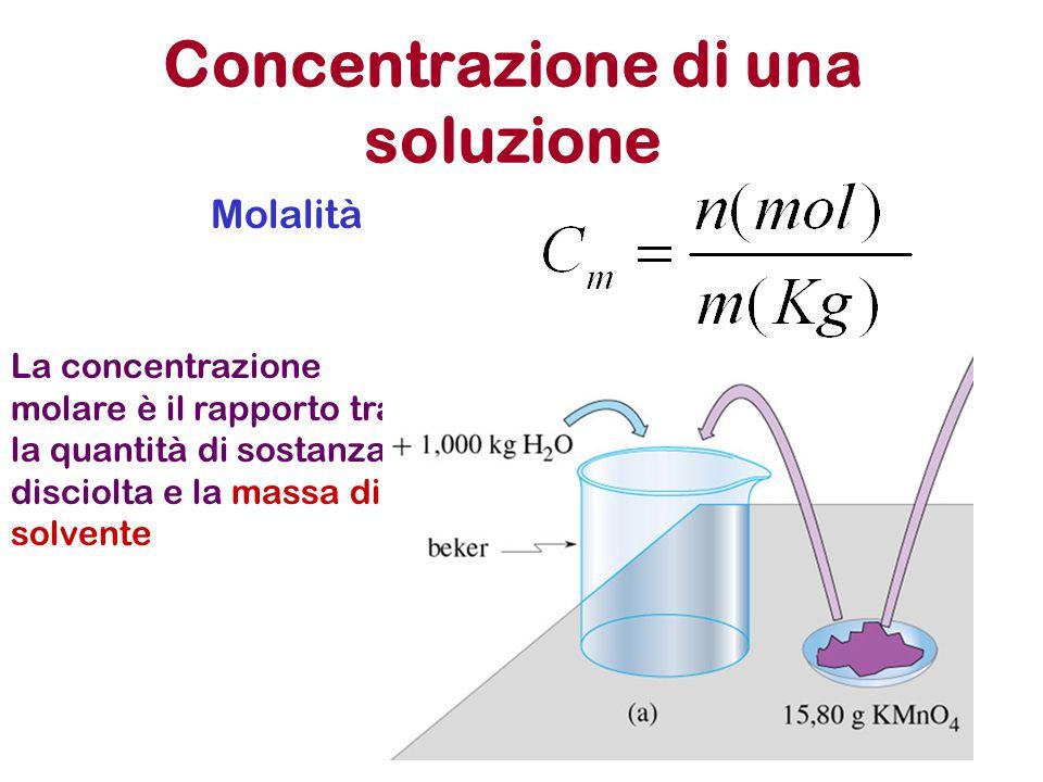 Concentrazione di una soluzione Molalità La concentrazione molare è il rapporto tra la quantità di sostanza disciolta e la massa di solvente
