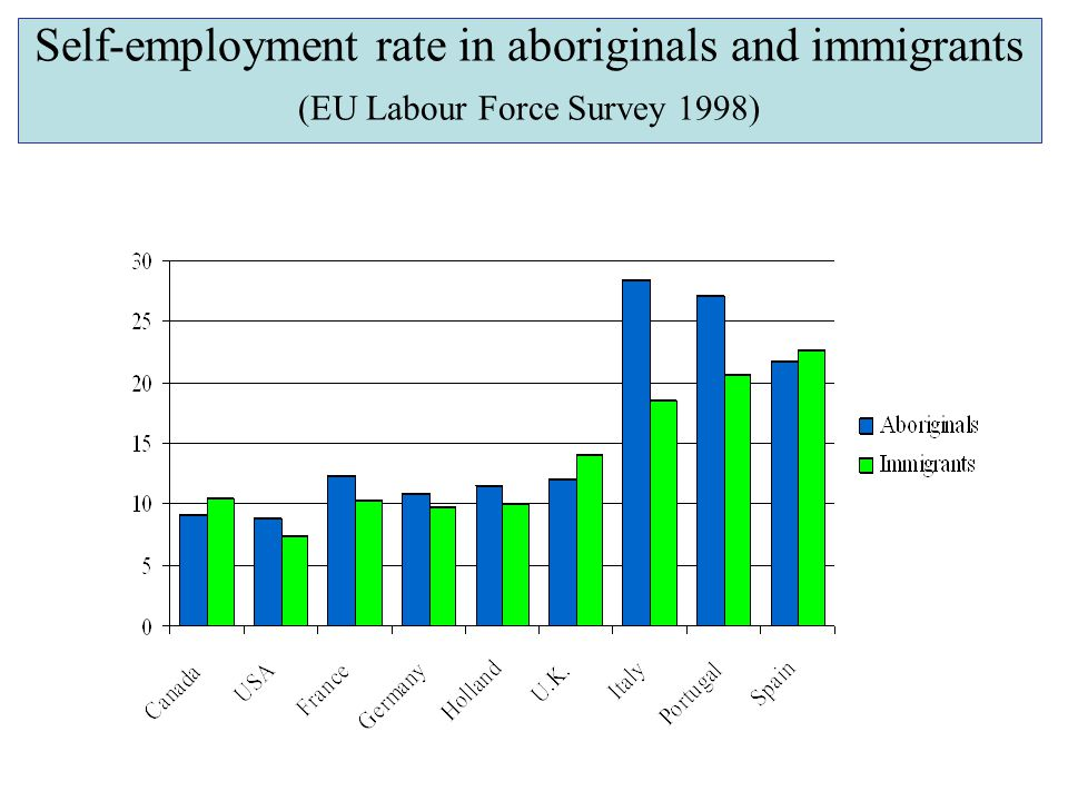 Self-employment rate in aboriginals and immigrants (EU Labour Force Survey 1998)