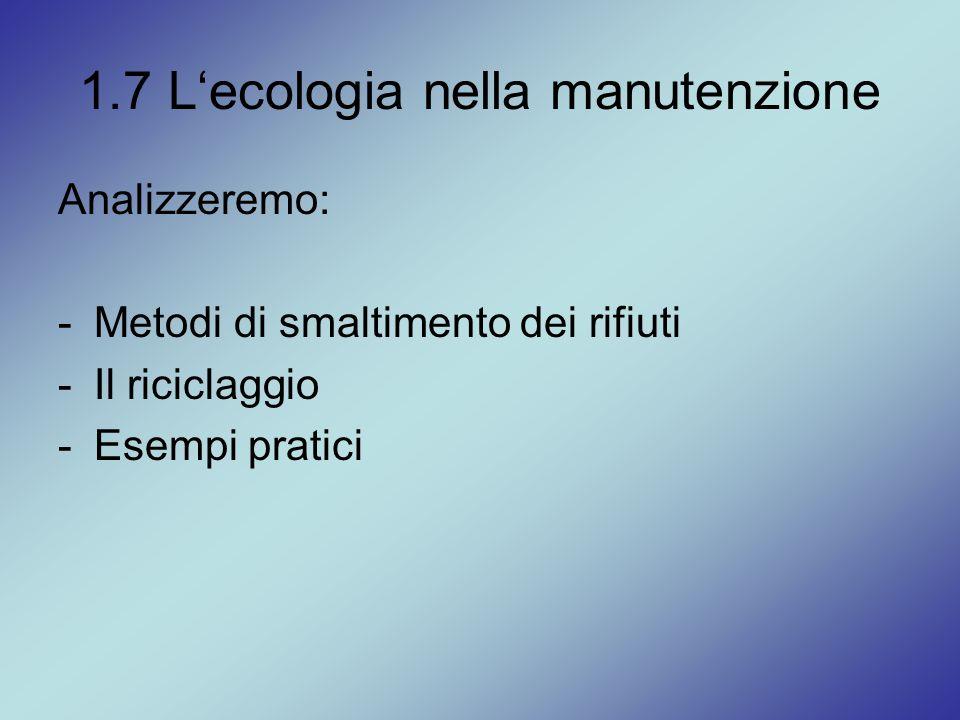 1.7 L'ecologia nella manutenzione Analizzeremo: -Metodi di smaltimento dei rifiuti -Il riciclaggio -Esempi pratici