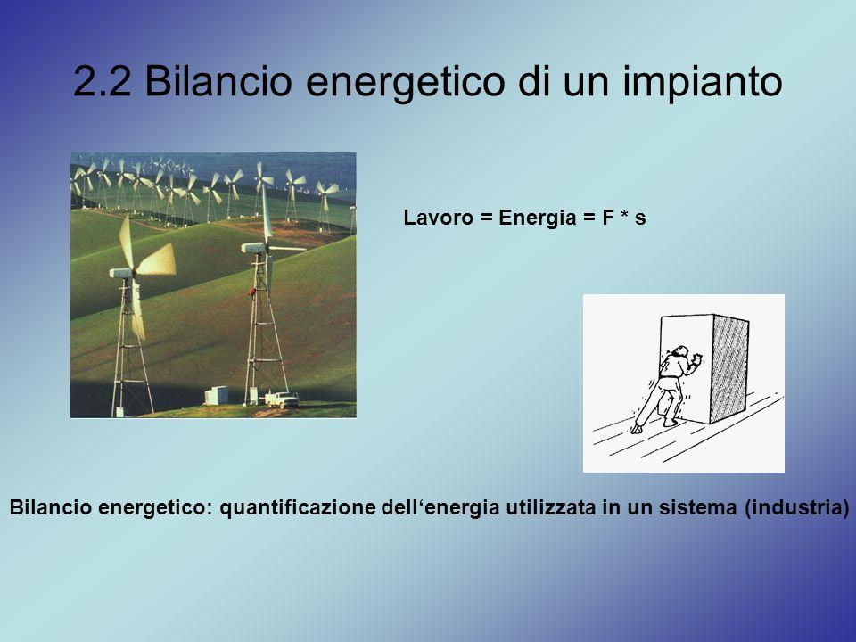2.2 Bilancio energetico di un impianto Lavoro = Energia = F * s Bilancio energetico: quantificazione dell'energia utilizzata in un sistema (industria)