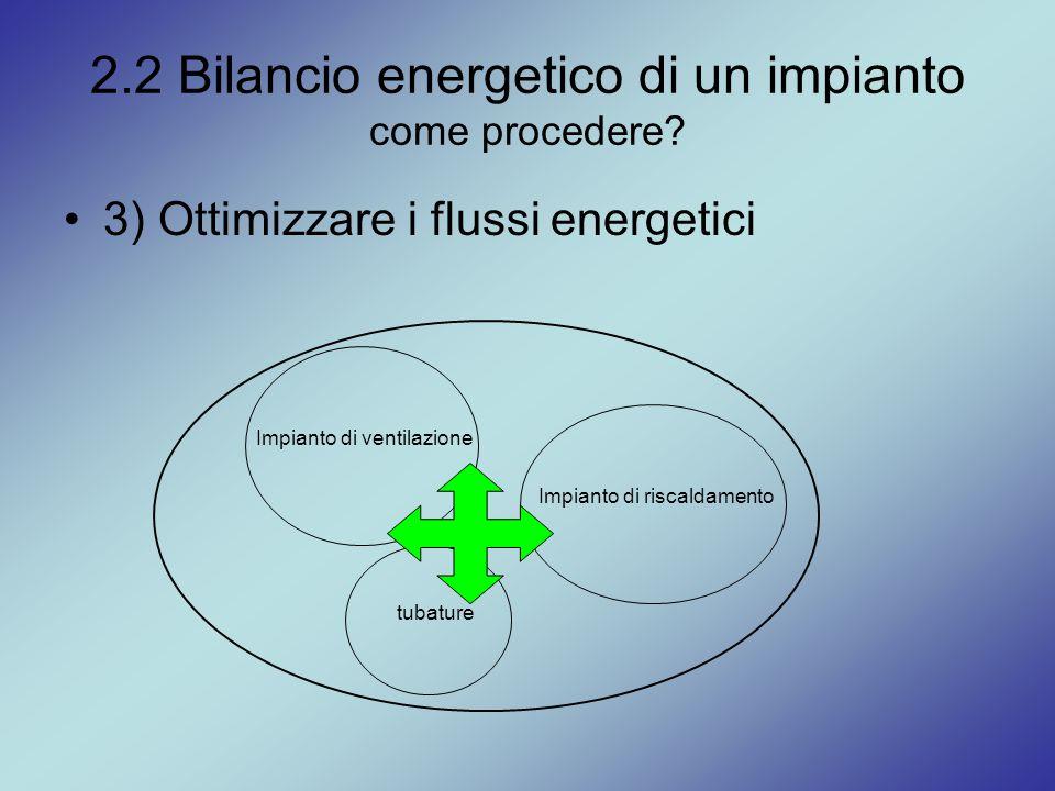 2.2 Bilancio energetico di un impianto come procedere? 3) Ottimizzare i flussi energetici Impianto di riscaldamento tubature Impianto di ventilazione