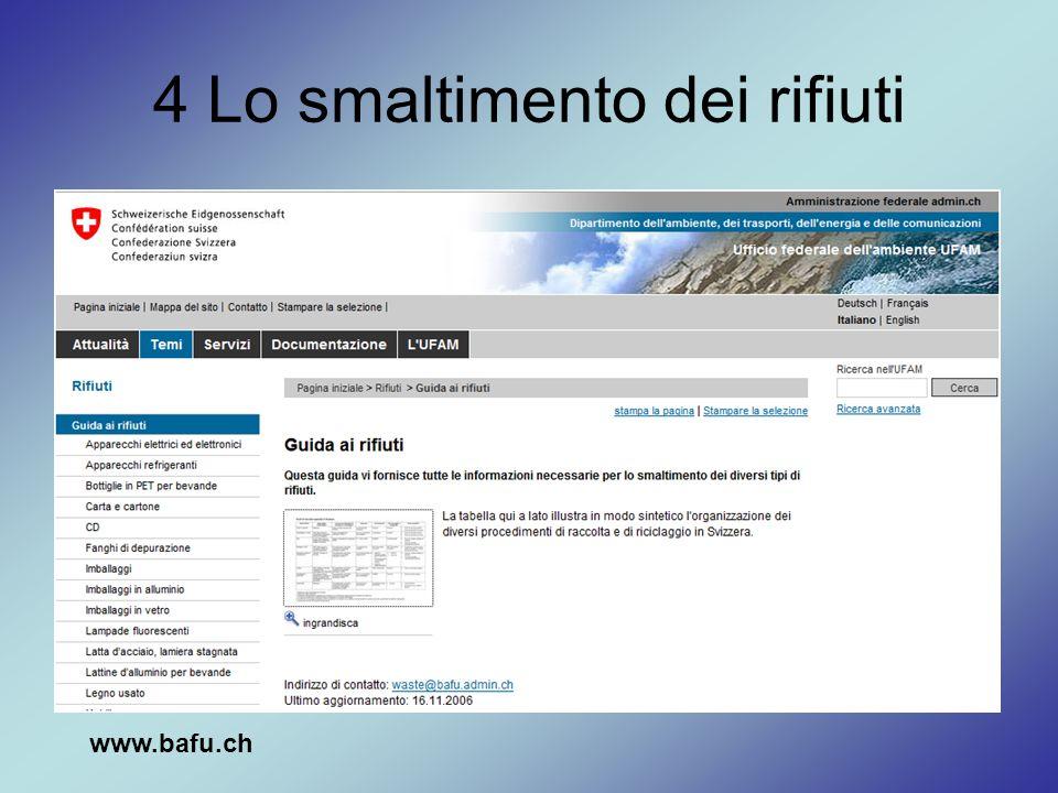 4 Lo smaltimento dei rifiuti www.bafu.ch
