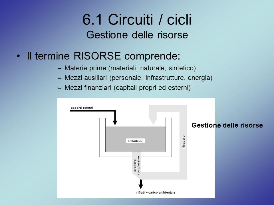 6.1 Circuiti / cicli Gestione delle risorse Il termine RISORSE comprende: –Materie prime (materiali, naturale, sintetico) –Mezzi ausiliari (personale,