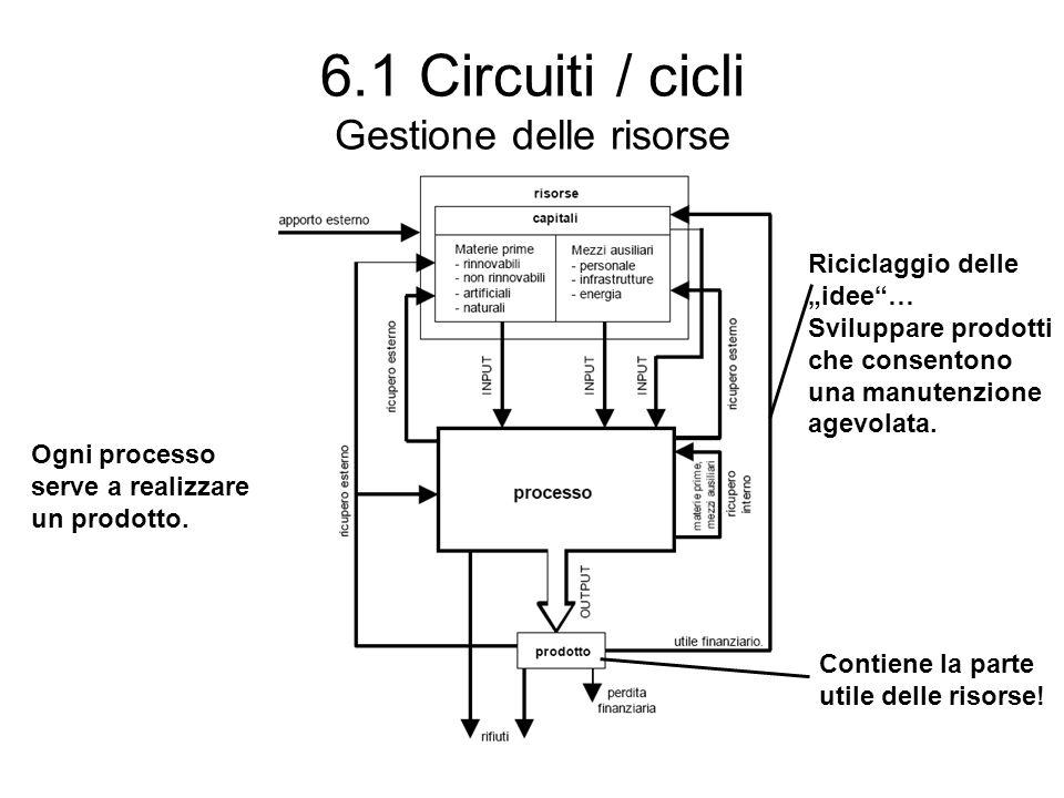 """6.1 Circuiti / cicli Gestione delle risorse Ogni processo serve a realizzare un prodotto. Contiene la parte utile delle risorse! Riciclaggio delle """"id"""