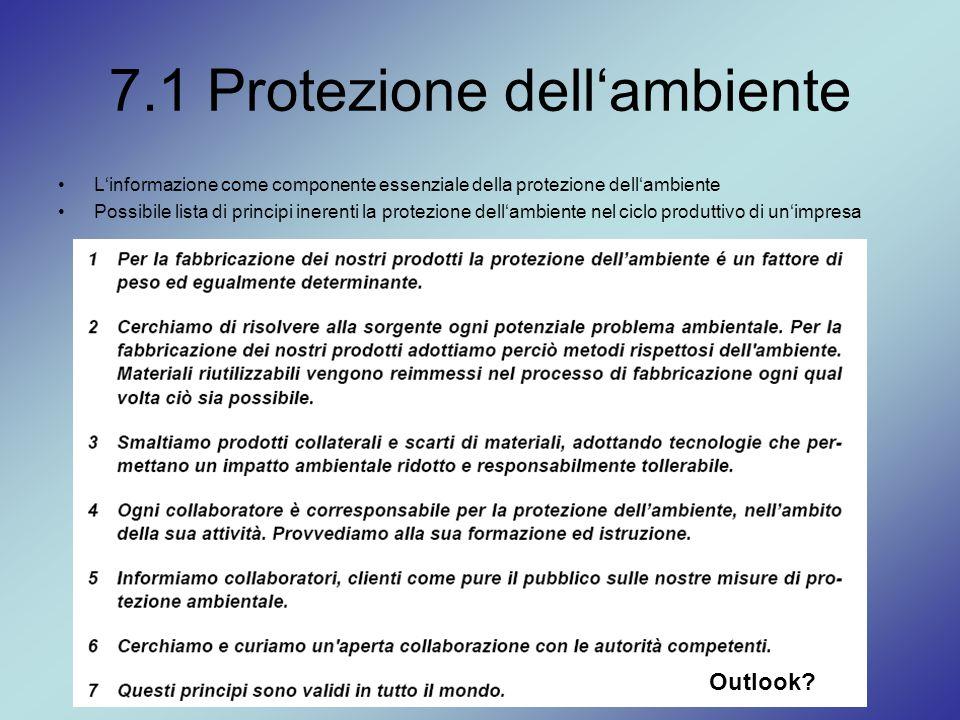 7.1 Protezione dell'ambiente L'informazione come componente essenziale della protezione dell'ambiente Possibile lista di principi inerenti la protezio