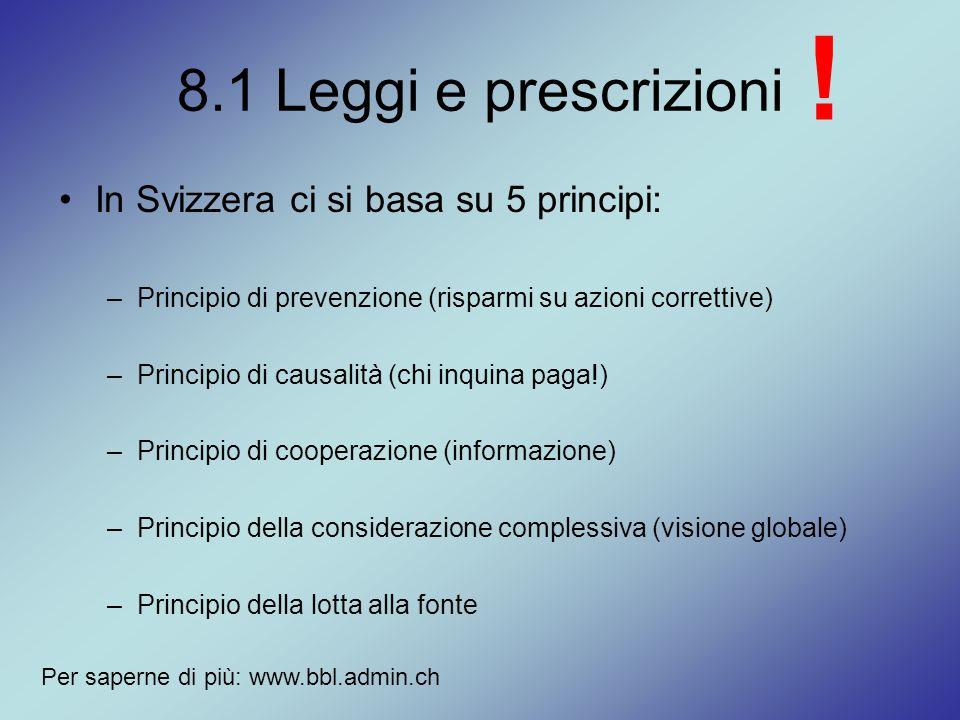 8.1 Leggi e prescrizioni In Svizzera ci si basa su 5 principi: –Principio di prevenzione (risparmi su azioni correttive) –Principio di causalità (chi