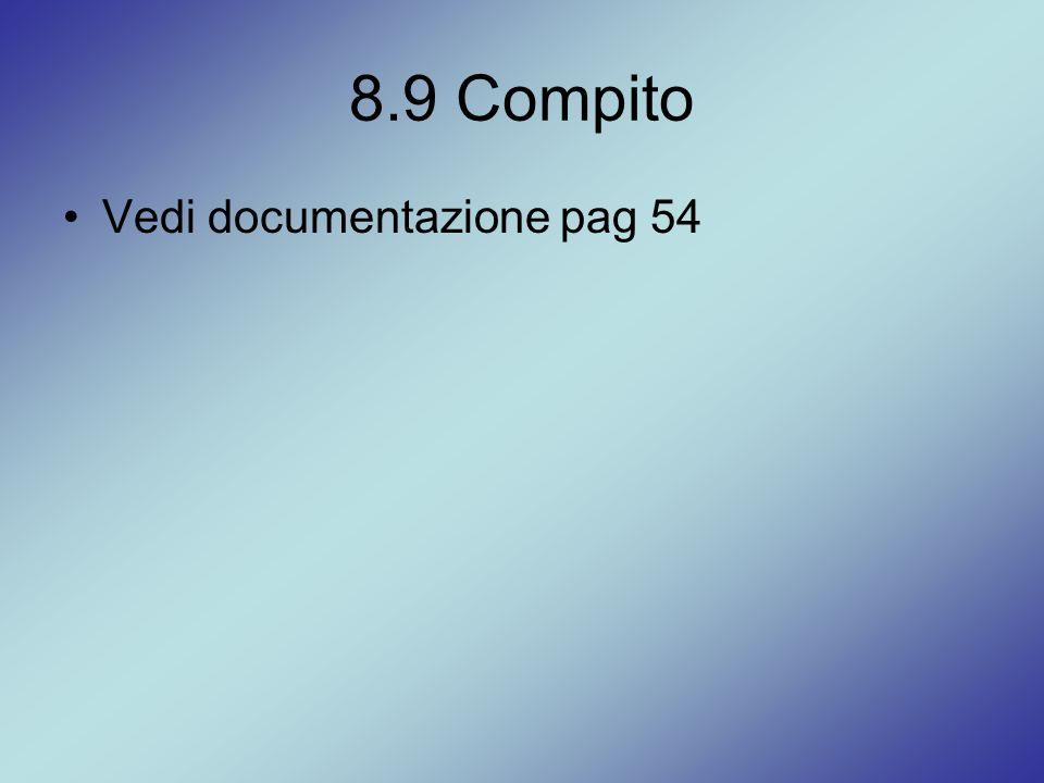 8.9 Compito Vedi documentazione pag 54