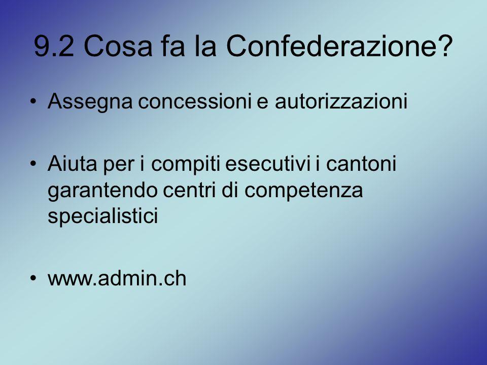 9.2 Cosa fa la Confederazione? Assegna concessioni e autorizzazioni Aiuta per i compiti esecutivi i cantoni garantendo centri di competenza specialist