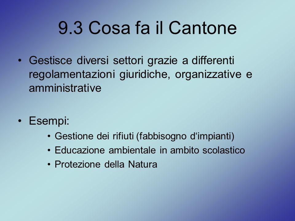 9.3 Cosa fa il Cantone Gestisce diversi settori grazie a differenti regolamentazioni giuridiche, organizzative e amministrative Esempi: Gestione dei r
