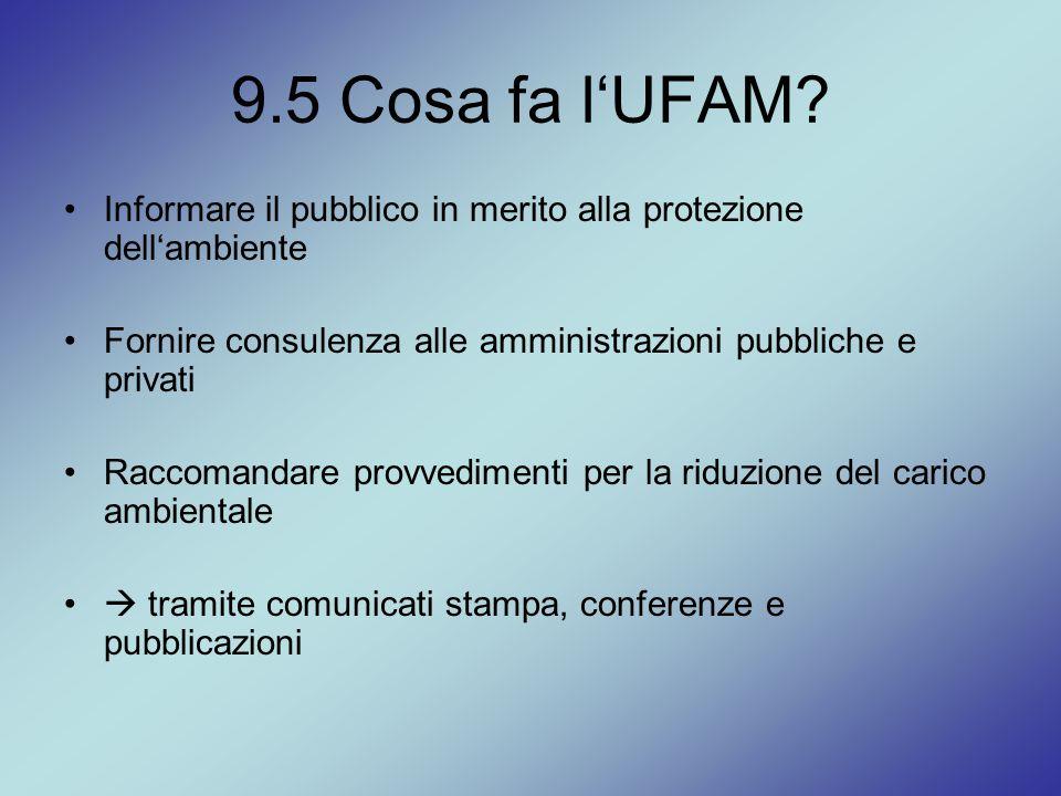 9.5 Cosa fa l'UFAM? Informare il pubblico in merito alla protezione dell'ambiente Fornire consulenza alle amministrazioni pubbliche e privati Raccoman