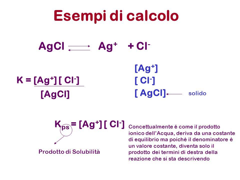 Esempi di calcolo AgCl Ag + + Cl - [Ag + ] [ Cl - ] [ AgCl] K = [Ag + ] [ Cl - ] [AgCl] solido K ps = [Ag + ] [ Cl - ] Prodotto di Solubilità Concettualmente é come il prodotto ionico dell'Acqua, deriva da una costante di equilibrio ma poiché il denominatore é un valore costante, diventa solo il prodotto dei termini di destra della reazione che si sta descrivendo