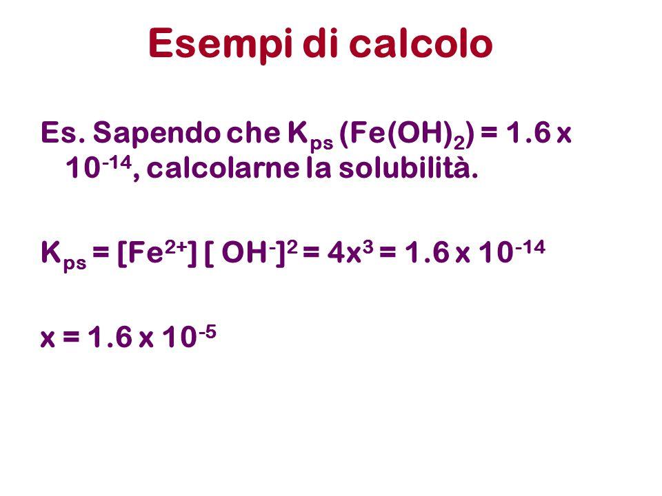 Esempi di calcolo Es. Sapendo che K ps (Fe(OH) 2 ) = 1.6 x 10 -14, calcolarne la solubilità.