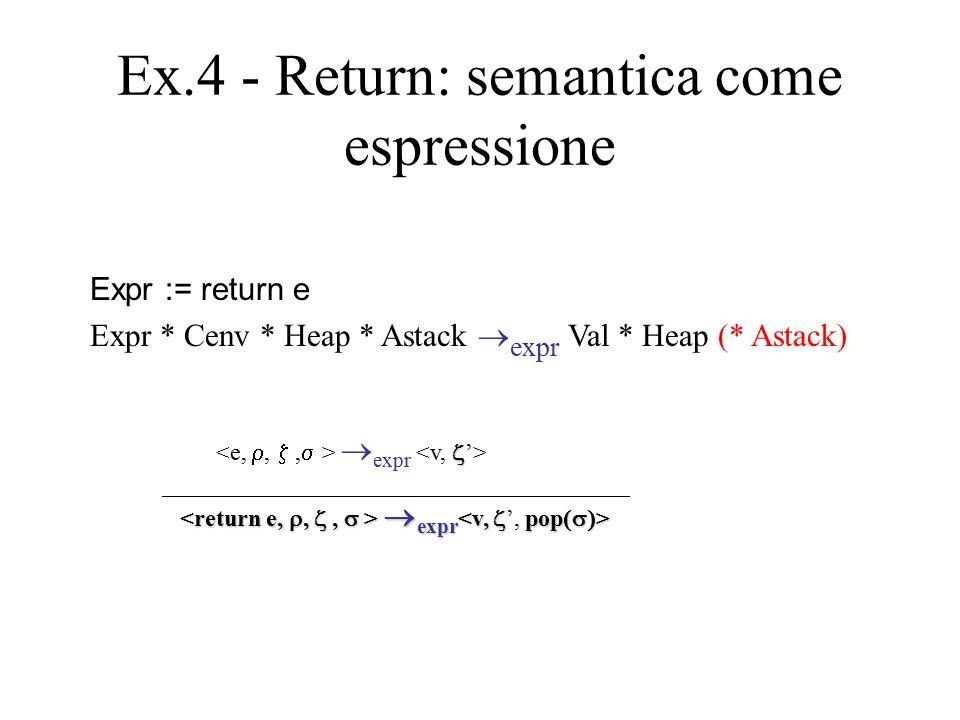 Ex.4 - Return: semantica come espressione Expr := return e Expr * Cenv * Heap * Astack  expr Val * Heap (* Astack)   expr _______________________________________  expr  expr