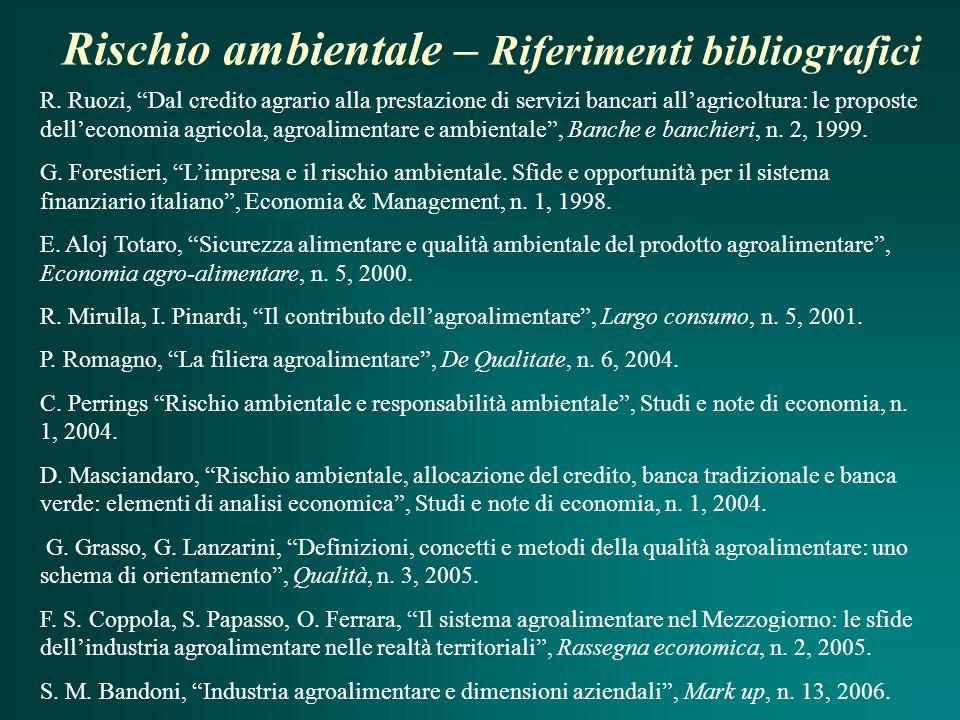 Rischio ambientale – Riferimenti bibliografici R.