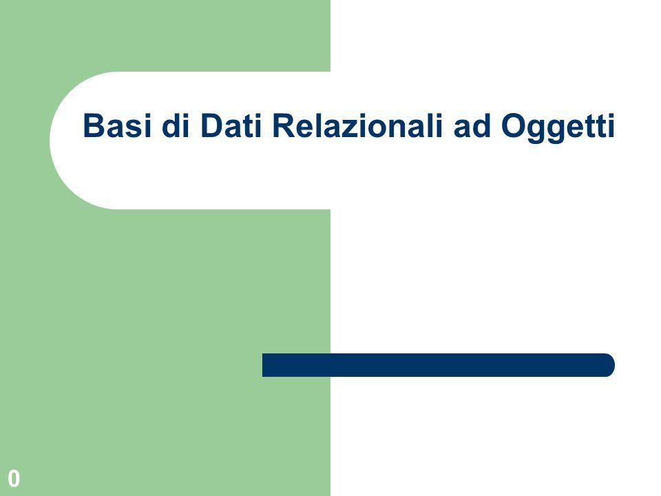 0 Basi di Dati Relazionali ad Oggetti