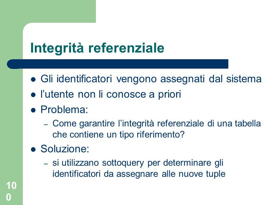 100 Integrità referenziale Gli identificatori vengono assegnati dal sistema l'utente non li conosce a priori Problema: – Come garantire l'integrità referenziale di una tabella che contiene un tipo riferimento.